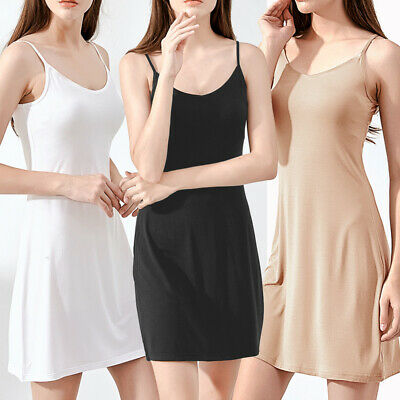 Womens Cami Camisole Full Slip Under Dress Spaghetti Strap Underskirt Petticoat