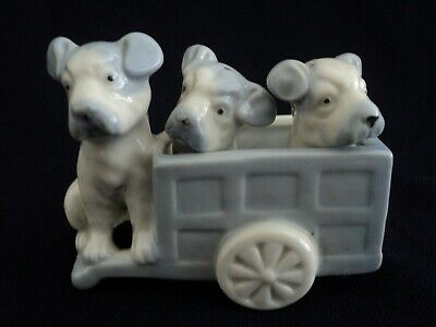 Vintage Ceramic Puppy Dogs Salt & Pepper Shakers with Wagon