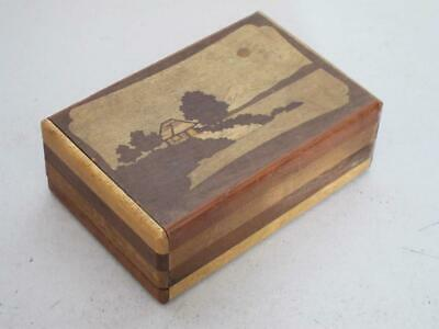 ANTIQUE JAPANESE INLAID WOOD PUZZLE BOX 1900 cigarette tunbridge sorrento ware