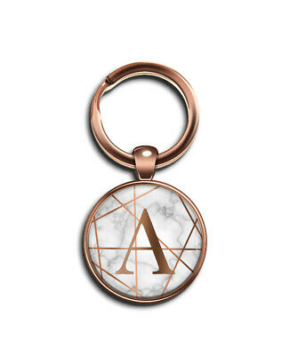 INITIAL Marble Geo Rose Gold Letter A-Z Small Button Badge 25 mm Ø KEYRING Gift