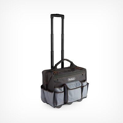Large Rolling Tool Bag Black And Grey Orange Carry Case Storage Trolley