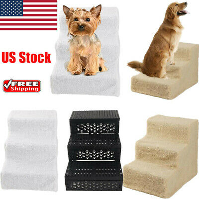 3 Steps Portable Doggy Cat Ladder Puppy Toy Step Stairs Pet Soft Stairs Ramp US