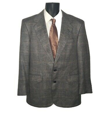 Tom James Executive Collection USA 40R Gray Windowpane Wool Sport Coat Blazer