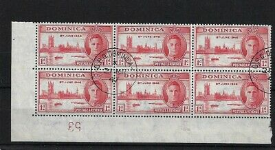 Dominica Sg110, 1D Victory, Fine Used Marginal Block Of Six