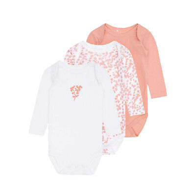 NAME IT 3er Pack Baby Mädchen Langarm Body Bodies Leaf Rosa Weiß Gr. 56 62 68 74