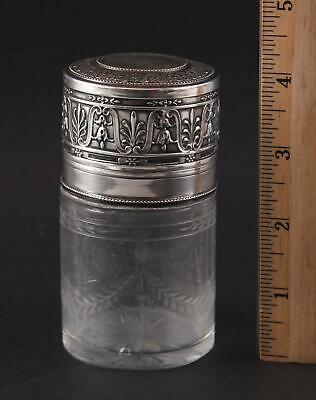 Antique German 950 Silver Gebrder Friedlnder Cut Polished Glass Perfume Bottle