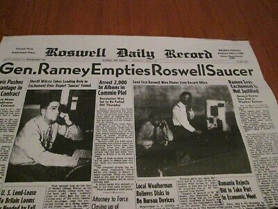 Very Rare 1947 Roswell Crash Newspaper Front Page Of Ufo Alien  Space Ship