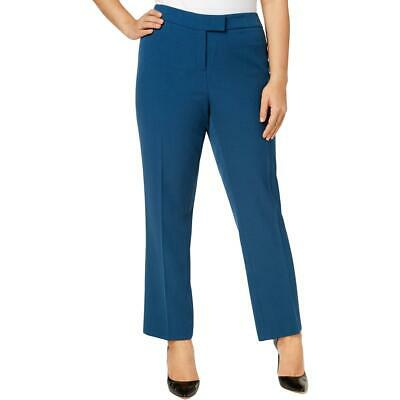 Anne Klein Womens Blue Crepe Straight Leg Pants Trousers Plus 22W BHFO 2125
