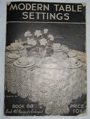 1937 Crochet Pattern and Vintage Crochet Unfinished Tablecloth with Thread