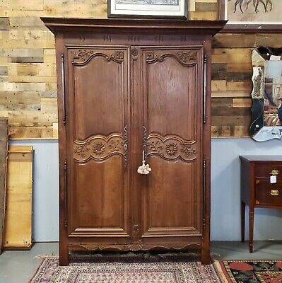Antique 18th Century French Normandy Country Door Wedding Armoire Cabinet c1790