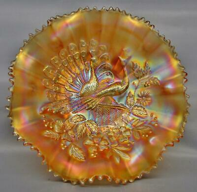 "Northwood PEACOCKS Lovely Marigold Carnival Glass Ruffled 9"" Ribbed Bowl 7348"