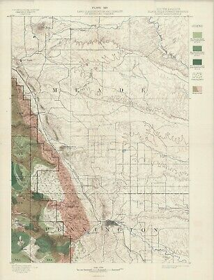 "1899  USGS  Map ""Rapid Quadrangle""  S. Dakota  Original lithograph"