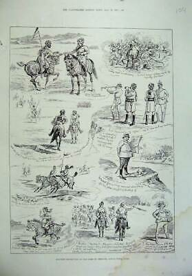 Old Antique Print 1887 Military Manoeuvre Camp Exercise Rawul Pindi India 19th