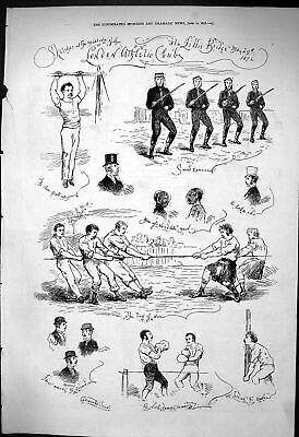 Old Print 1876 London Athletic Club Sword Exercise Tug War Boxing Tossin 19th