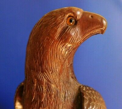 Antique Black Forest Carved Eagle With Glass Eyes - Hardwood - Very Detailed