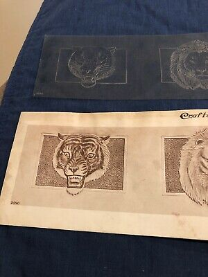 Vintage Craftaid Leather Template Pattern 1950 Craft Aid 2590 Lion Tiger Wallet
