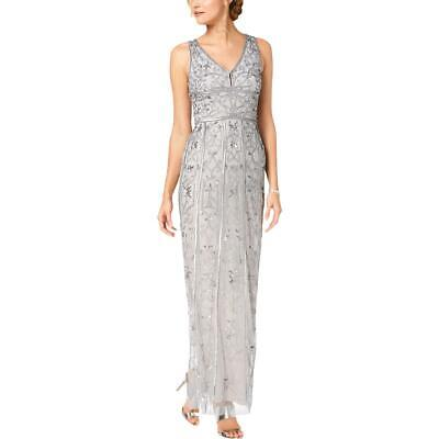 Adrianna Papell Womens Gray Beaded Formal Evening Dress Gown 2 BHFO 6824