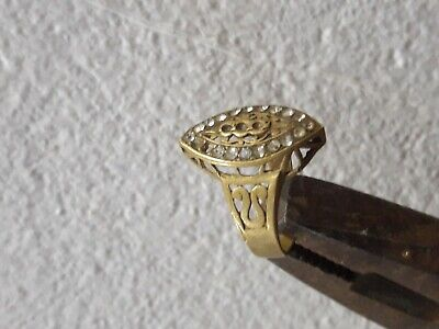 Ancient  Bronze ROMAN Legionary Ring With White Stones  Artifact Amazing Piece.