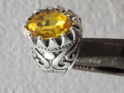 Ancient ROMAN Legionary Ring With A Yellow Color Stone Silver Artifact Amazing