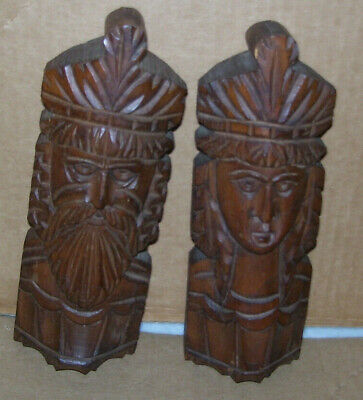 Vintage Hand Carved Wood Tiki Man Woman Sculptures King Queen