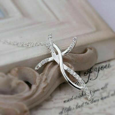 Cute Silver Fashion crystal charms Necklace Women jewelry wedding 925 Cross
