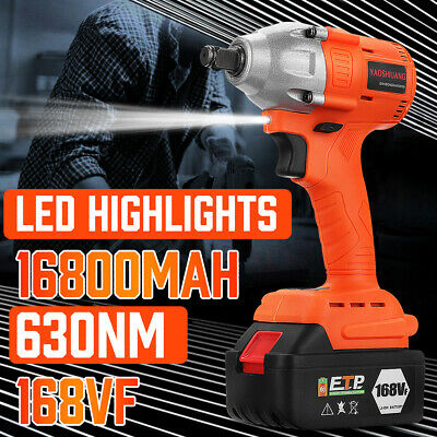 168VF 630NM Brushless Cordless Electric Impact Wrench With 16800mAh Battery