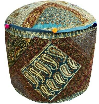 "25"" Vibrant Beads Sequin Sari Ottoman Stool Furniture Bench Pouf Pillow Cover"