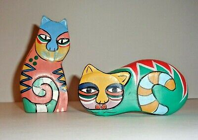 Pair of Hand Carved Hand Painted Wooden Cats Very Art Deco