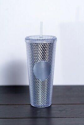NEW STARBUCKS 2019 Bling Platinum Studded Cold Cup Tumbler 24oz WINTER HOLIDAY
