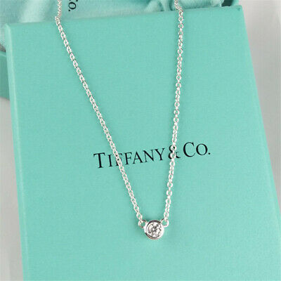 TIFFANY & CO Sterling Silver Diamonds By The Yard Pendant Necklace
