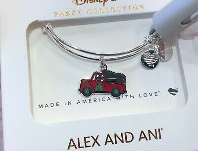 Disney Alex And Ani Mickey's Tree Farm Red Truck 2019 Christmas Silver Bracelet