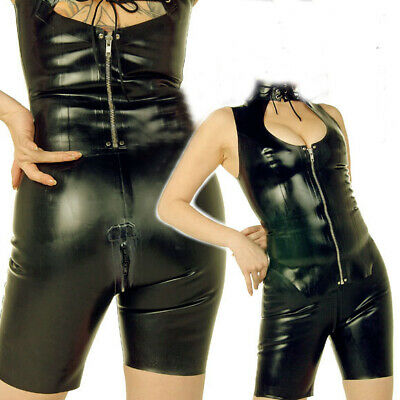 Latex Rubber Sports Auzug Gummi Schwarz Zipper Bodysuit High Neck Cool Catsuit