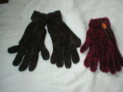 2 Brand New Pairs Of Ladies Gloves F&F Brown One Size Magic Gloves Thermal Red