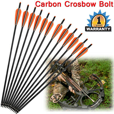 """12X 18""""/20"""" Crossbow Bolts Mixed Carbon Hunting Arrow Changeable Tips Half Nocks"""