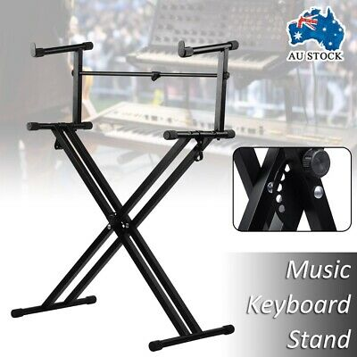 Foldable X Type Stool Adjustable Double Braced Music Keyboard Stand Piano Holder
