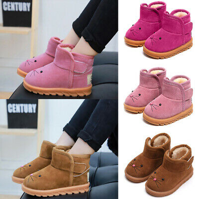 Kids Fur Lined Snow Boots Girls Winter Warm Ankel Booties Toddlers Flat Shoes