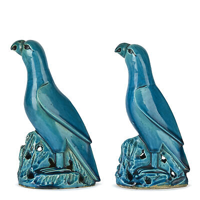 Pair Chinese Qing Turquoise Glazed Pottery Parrots 19Th C.