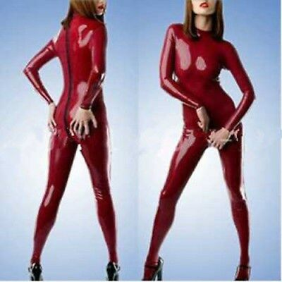 Latex Catsuit Gummi Rubber Red Zipper 0.4mm Sexy Gummi Bodysuit Kostüm S-XXL
