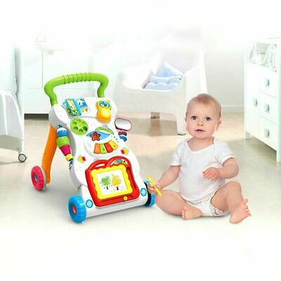 UK First Steps Baby Walker Push Along Bouncer Activity Music Stroller Sit & Play
