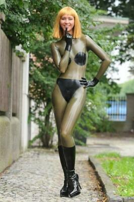 Unisex Latex Catsuit With Gloves Brown Black 100% Rubber Cool Tights Bodysuit
