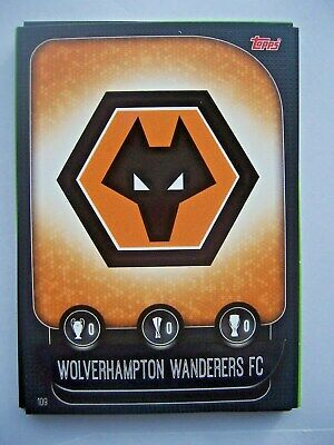 Topps Match Attax Uefa 2019/20 Trading Card~# 109 Club Crest~Wolves~Mint