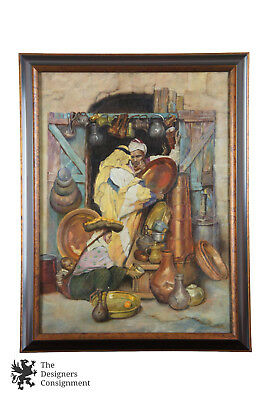 """After Dean Cornwells """"The Copper Shop in Jerusalem"""" Rare Oil Painting on Canvas"""