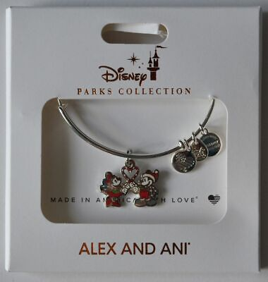 Disney Parks Alex And Ani Mickey and Minnie Mouse Christmas Silver Bracelet NEW
