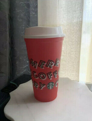 Starbucks 2019 Red Reusable Cup Grande 16oz MERRY COFFEE Christmas Cup