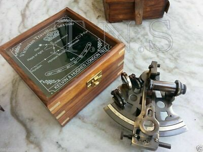 Antique Maritime Kelvin & Hughes Sextant Nautical Brass Sextant With Wooden Box