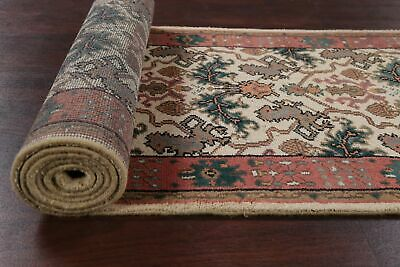 All-Over Floral IVORY/CORAL Oushak Oriental Runner Rug Hand-Knotted Wool 3'x12'
