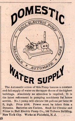 1888 A Ad Domestic Water Supply Hall Electric Pump Dynamo Powered