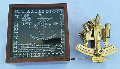 Nautical Collectible Marine Office Desktop Solid Brass Sextant With Rosewood Box