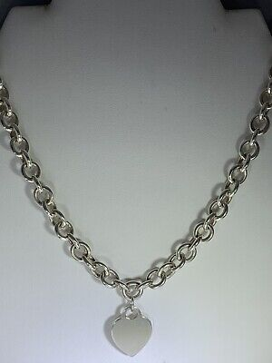 """Tiffany & Co. 17.5"""" Sterling Silver Necklace Heart Pendant POUCH"""