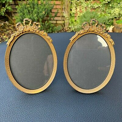 19th C.Antique French Ormolu Gilt Bronze Ornate Oval Picture Frame W/ Easel PAIR